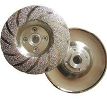 "4""-5"" Diamond Turbo Cup Wheel Vacuum Brazed With M14/16 Flange Bright"
